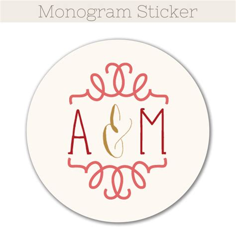 printable monogram stickers floral border thank you folded card the print cafe