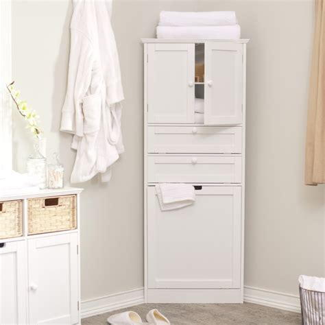 Furniture White Painted Wooden Bathroom Corner Wall Linen Cabinet With Laundry