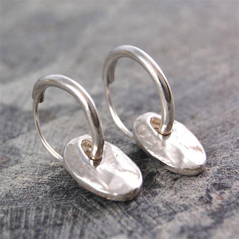 Sterling Silver Hoop Drop Earrings coin drop silver hoop earrings by otis jaxon silver