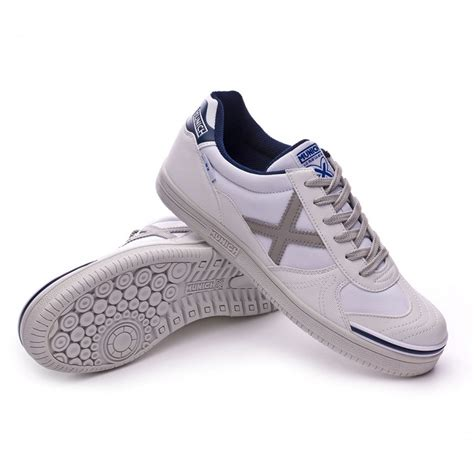 munich g3 football shoe white silver navy