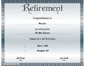 retirement certificate templates retirement certificate free printable certificates