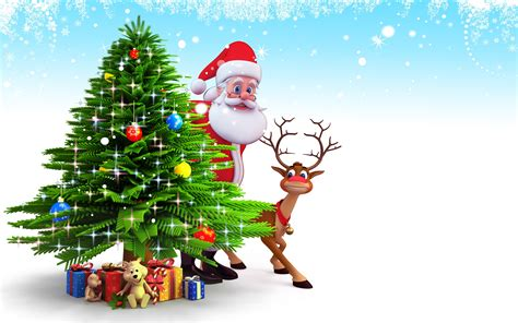 pictures of crismas tree and centaclaus santa claus and reindeer tree and gifts