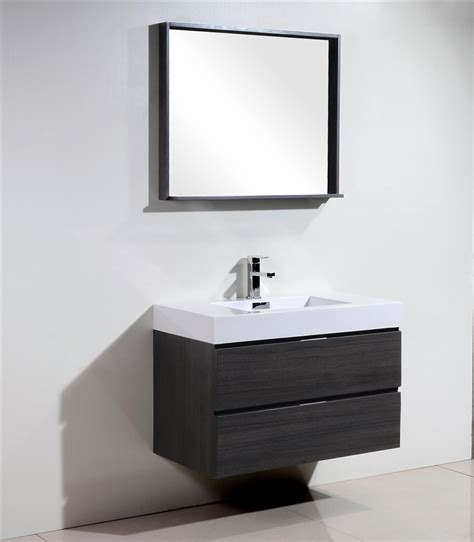 36 Modern Bathroom Vanity Bliss 36 Quot Gray Oak Wall Mount Modern Bathroom Vanity