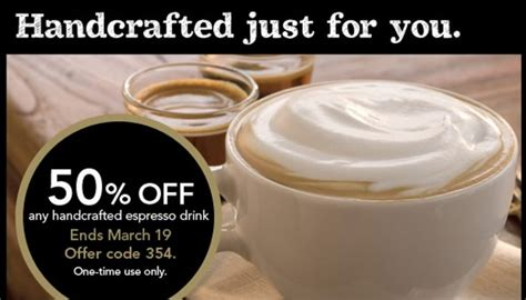 Handcrafted Espresso Beverages Starbucks - starbucks coupon 50 any handcrafted espresso drink