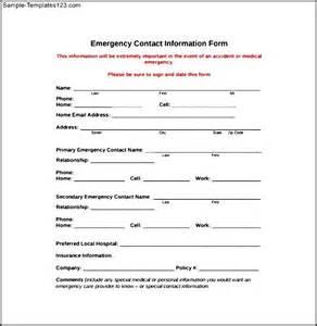 emergency information form template emergency contact information form sle templates