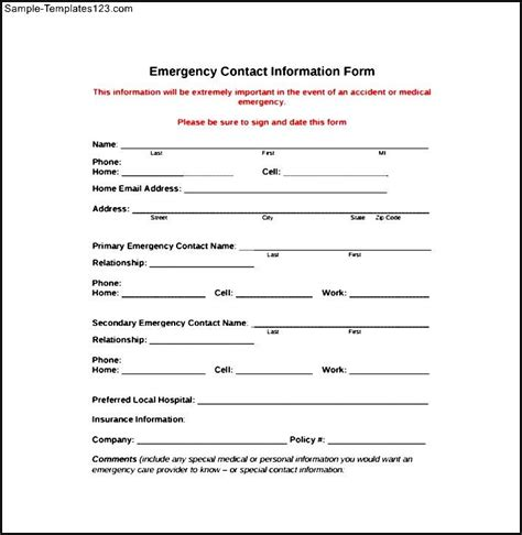 emergency contact information form sle templates