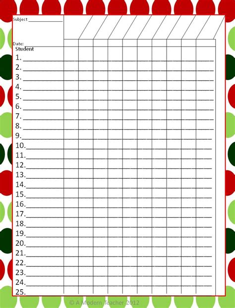 gradebook template december checkoff printable freebie 187 a modern