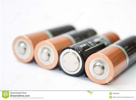 four aa batteries four aa alkaline batteries on a white background stock