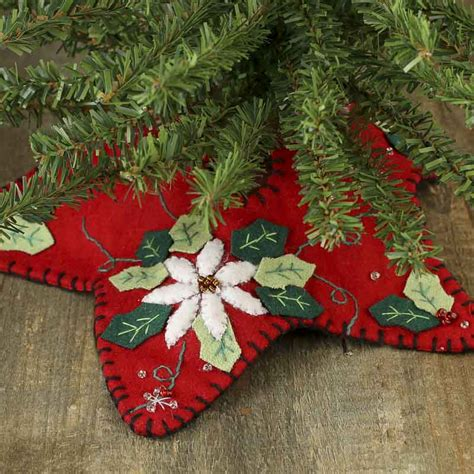 small christmas poinsettia embroidered tree skirt