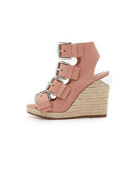 wang jo buckle wedge sandals blush in pink