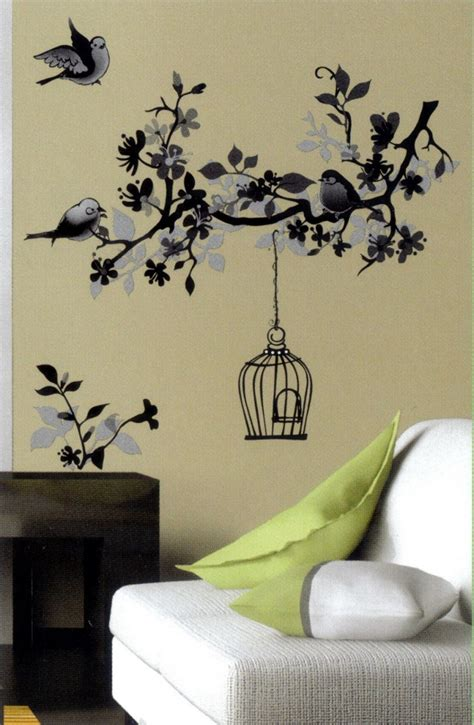 black and white wall stickers monochrome bird cage black white wall sticker vinyl transfer mural wall