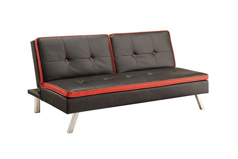 black leather futon black red leather futon 500766 at gardner white