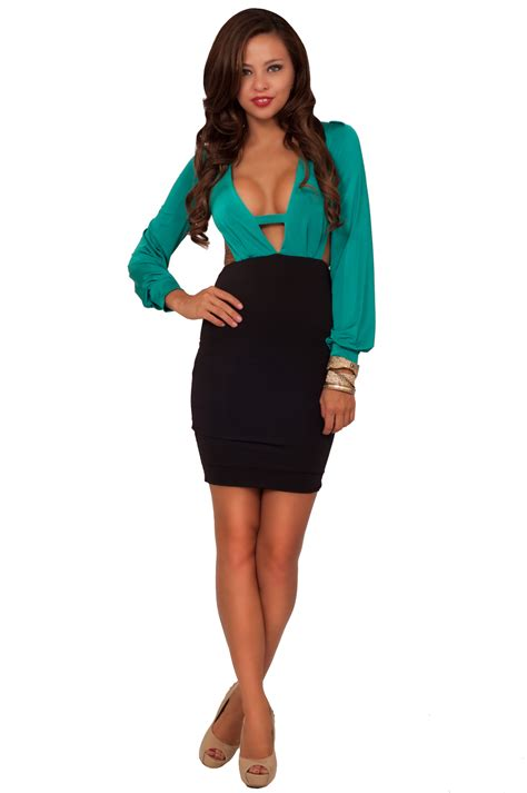 sleeve v neck peekaboo fitted pencil skirt
