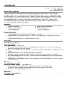 Resume Sle Professional by Professional International Sales Manager Templates To Showcase Your Talent Myperfectresume
