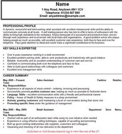 Resume Sles For Assistant by Sle Cv Sales Assistant Uk Resume Writing Services Chicago Consultspark