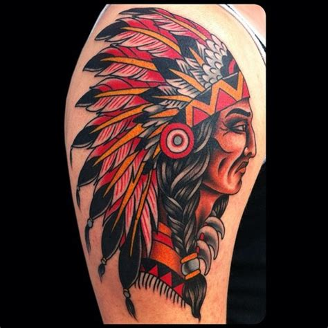 red indian tattoo designs david bruehltraditional school indian chief