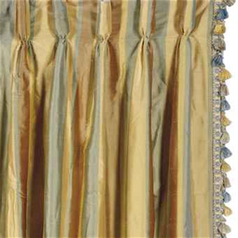 silk striped drapes six striped silk curtain panels late 20th century