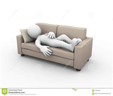 on the sofa 3d man sleeping on couch stock illustration image 57906056