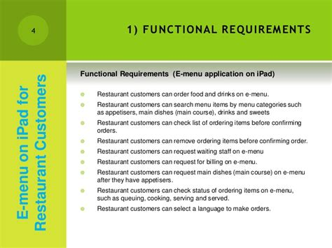 cafe design requirements a1 analysis design