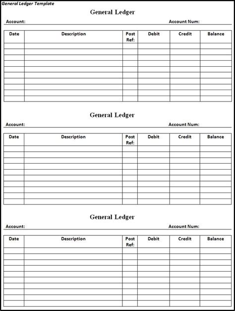 general ledger templates general ledger template templates