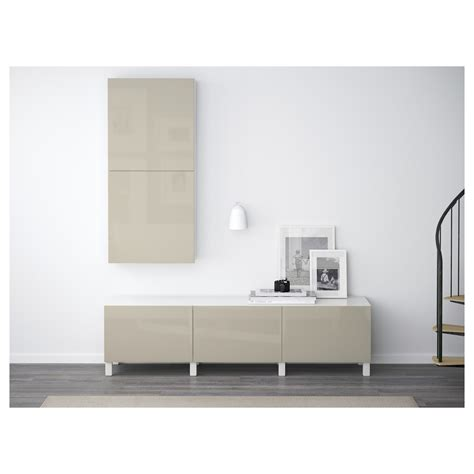 besta beige best 197 wall cabinet with 2 doors white selsviken high gloss