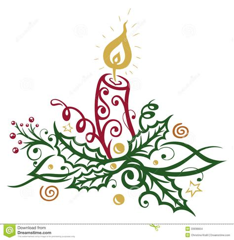 clipart natalizi natale agrifoglio candela illustrazione vettoriale