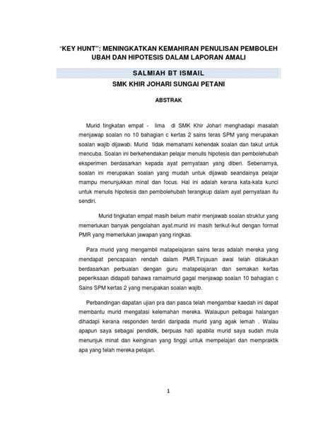 format laporan eksperimen contoh kajian tindakan sains