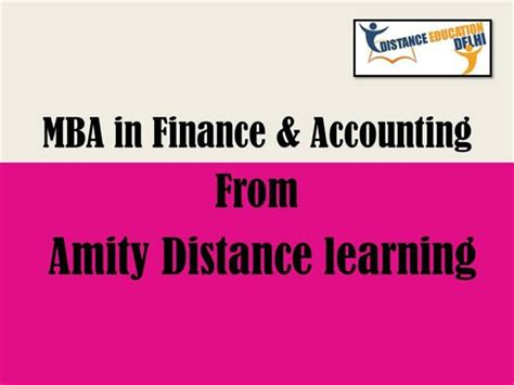 Amity Distance Mba by Mba In Finance And Accounting From Amity Distance Learning