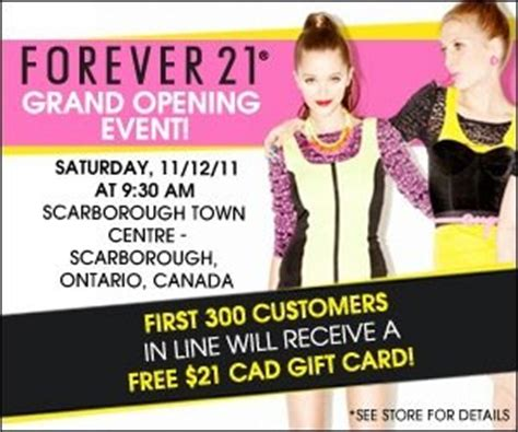 Free Forever 21 Gift Card Code - forever 21 grand opening scarborough on nov 12 canadian freebies coupons deals