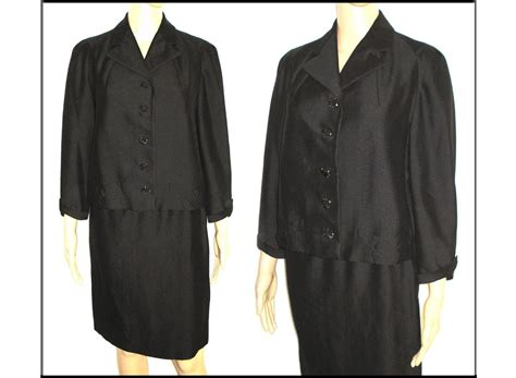 swing back coats 1950s suit 2 piece jacket swing back black from