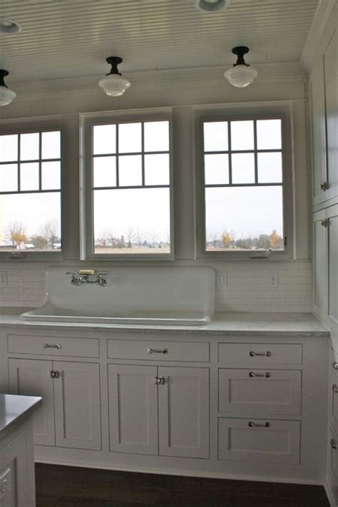 beadboard ceiling schoolhouse lighting white grey marble