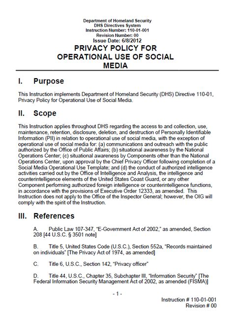 contract policy template dhs privacy policy for operational use of social media