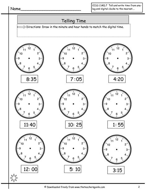 Free Time Worksheets by Free Math Printouts From The S Guide