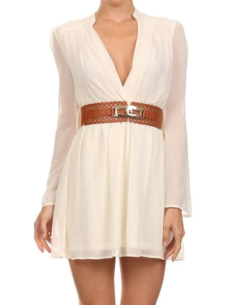 white dress with belt sleeve edite mode