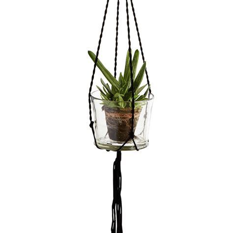 Rope Hanging Planter - ropework pot holder in black by out there interiors