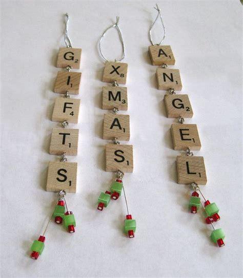 scrabble tile christmas ornaments set    rbdesign