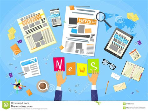 newspaper layout editor news editor desk workspace concept making stock vector