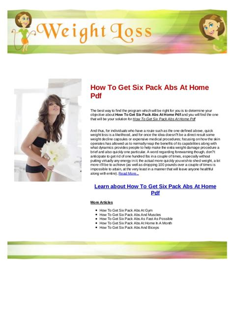 how to get six pack abs at home pdf