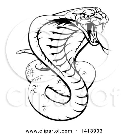 clipart of a black and white lineart angry king cobra snake ready to strike royalty free