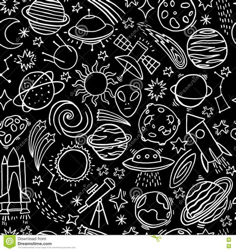space and pattern in art hand drawn astronomy doodle seamless pattern vector