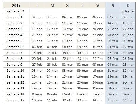 Calendario Colombia 2017 Excel Descarga El Estupendo Calendario 2017 De Excel Total