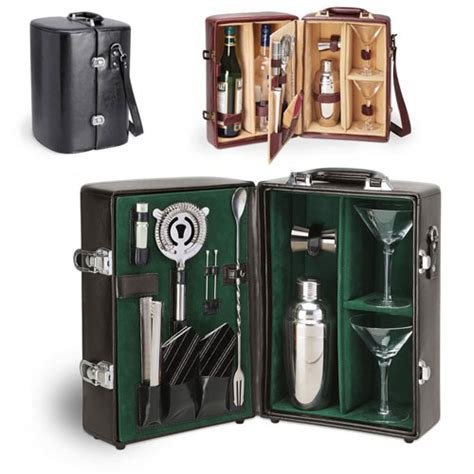 portable cocktail set wine liquor manhattan travel bar deluxe set brown 667