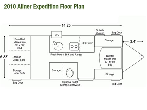 aliner bird trailer look at a floor plan