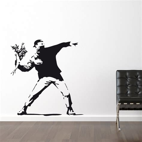 banksy wall stickers uk banksy flower thrower wall sticker wall chimp uk
