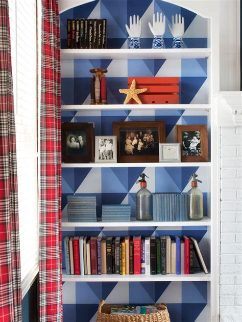 bookcase back panel material add graphic pop to a bookcase with wallpaper hgtv