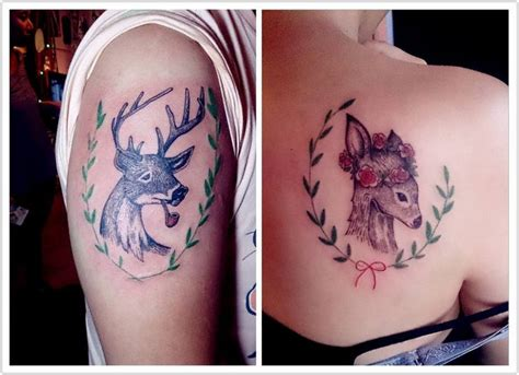 deer couple tattoos 25 best ideas about couples matching tattoos on