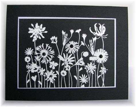 Black And White Handmade Cards - lovely handmade card in black and white silouetted