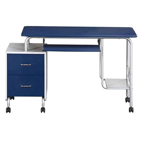 Computer Desk For Students Techni Mobili Wood Student Blue Silver Computer Desk Ebay