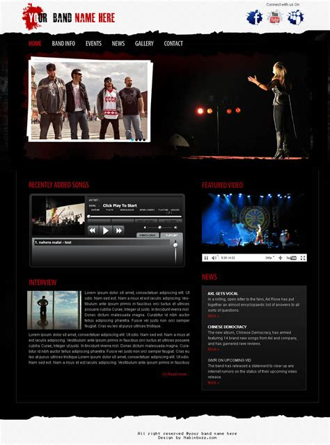 Musical Band Web Template Psd Download By Crazeeartist On Deviantart Rock Band Web Template