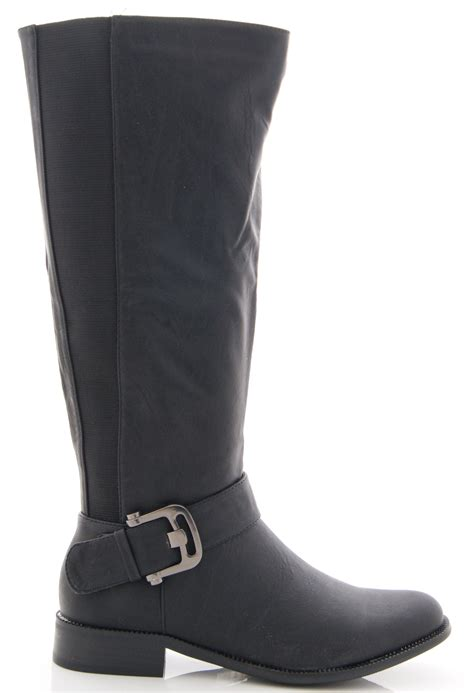 new womens stretch wide fit faux leather mid calf